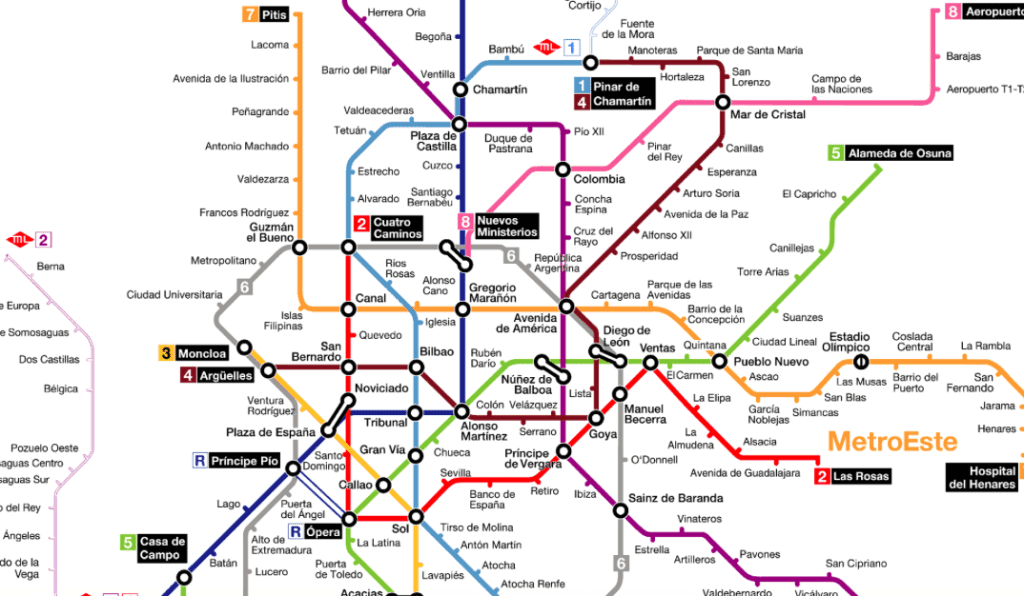 Mapa Metrô de Madri