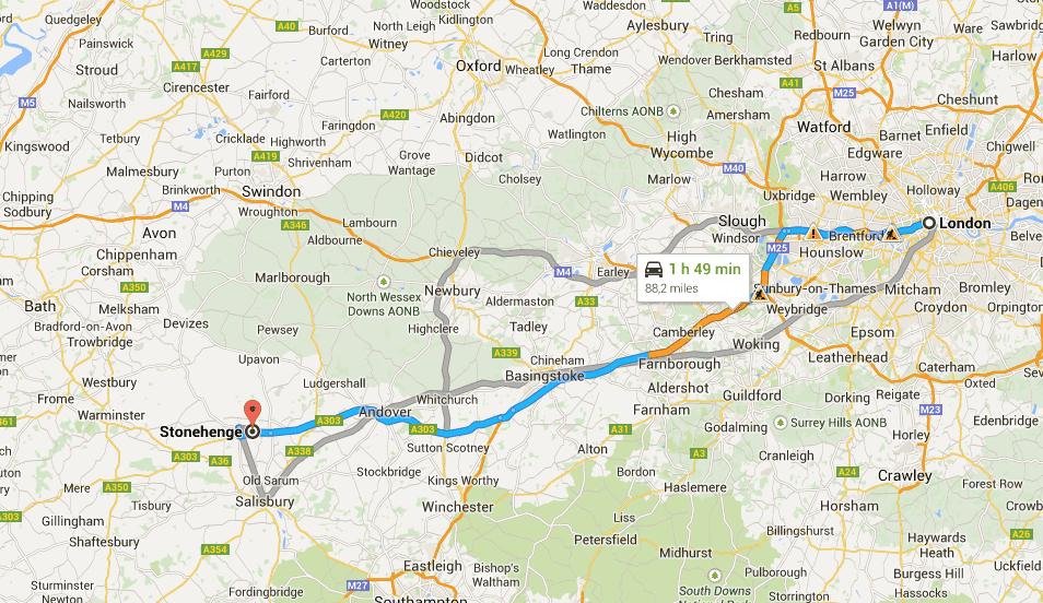 Mapa: Londres - Stonehenge