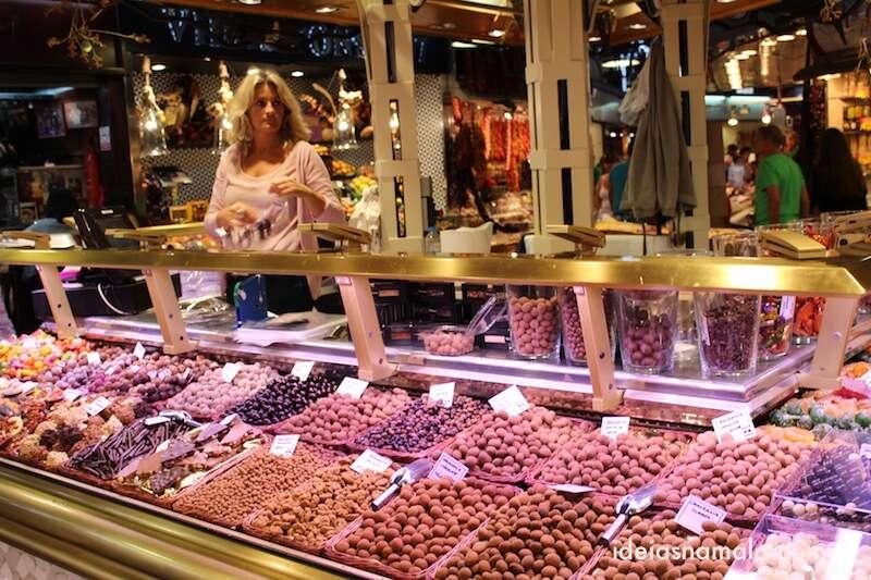 castanhas no Boqueria em Barcelona