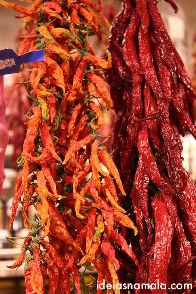Pimentas no Boqueria em Barcelona