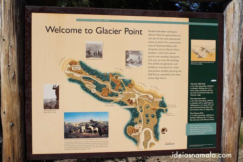 Mapa do Glacier Point | Yosemite National Park, California