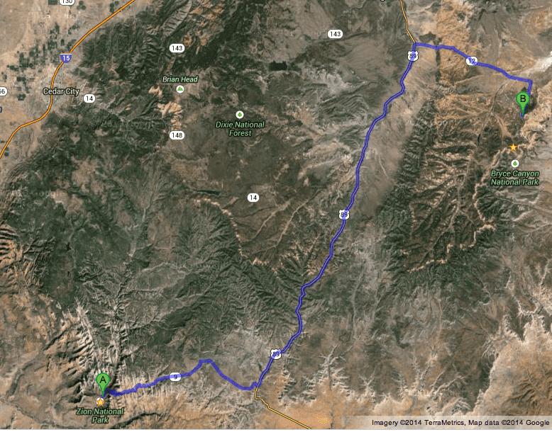 Viagem entre Zion e Bryce