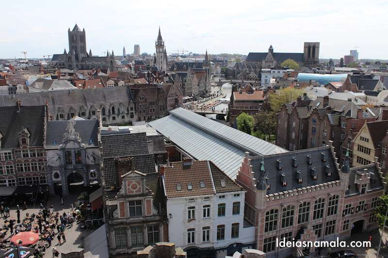 Vista do alto do Castelo de Ghent
