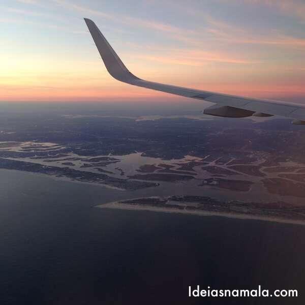 Vista do avião - quase em Nova Iorque