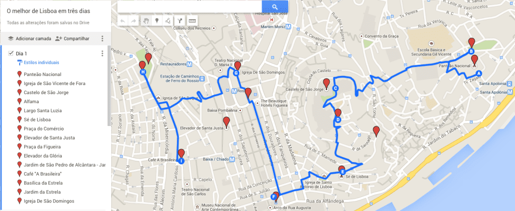 Mapa - Lisboa - Dia 1