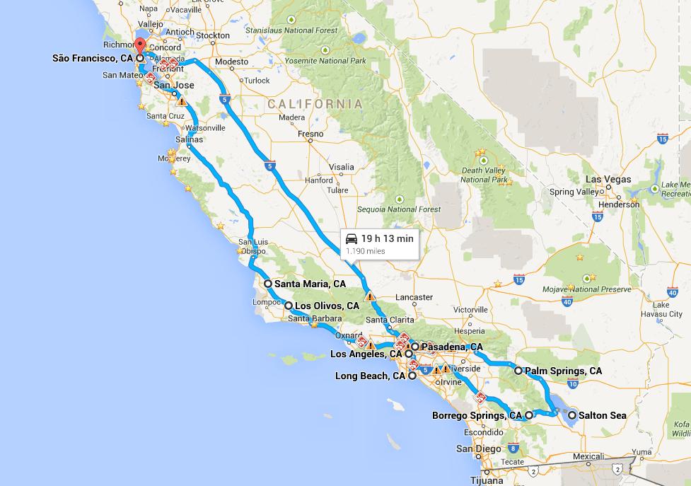 Mapa: San Francisco, Palm Springs