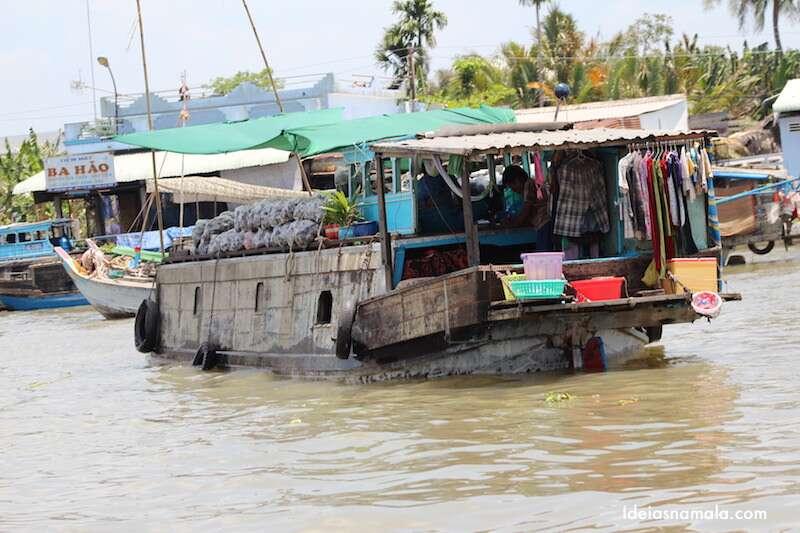 Mercado Flutuante - Delta do Mekong