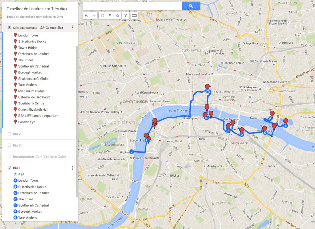 Mapa Londres dia 1