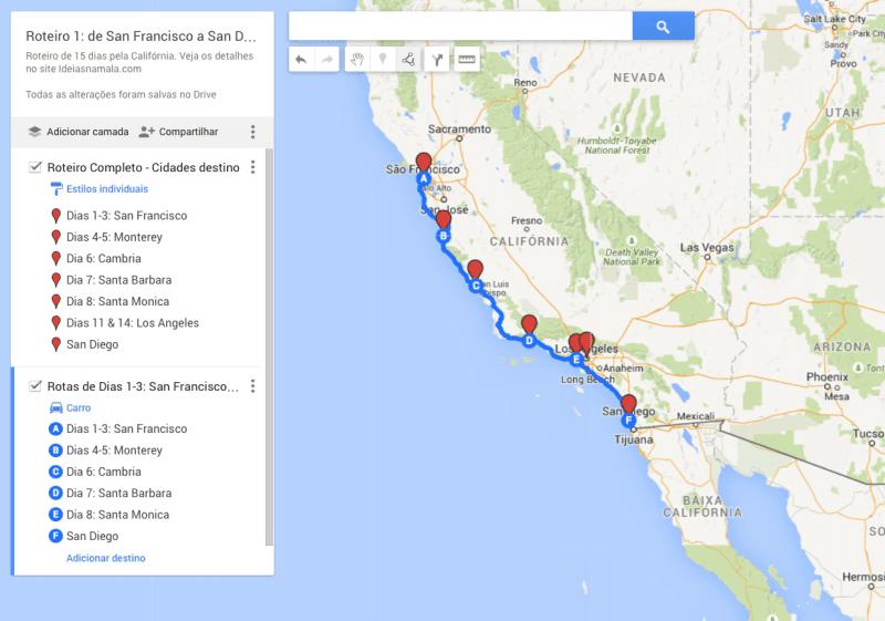 Roteiro 15 dias na Califórnia