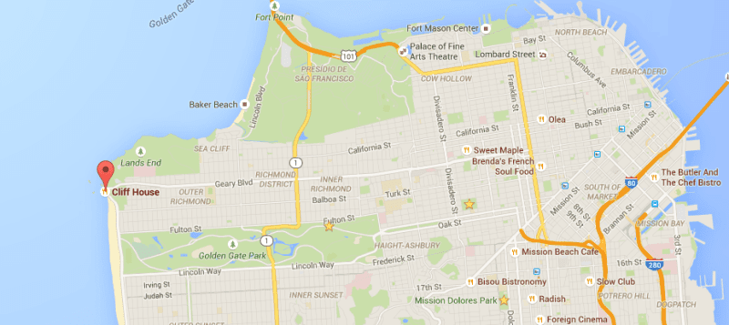 Cliff House no mapa