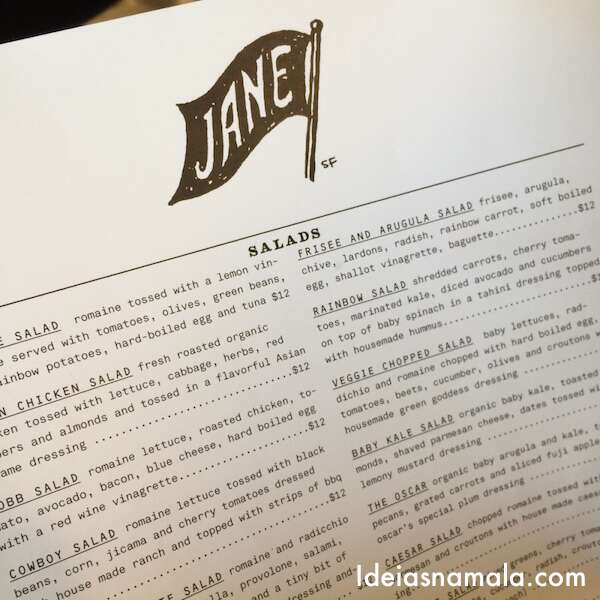 Menu do Jane - San Francisco