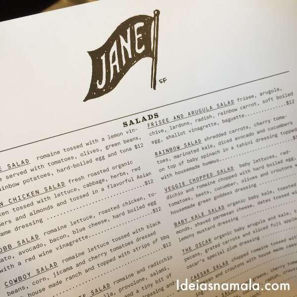 Menu do Jane - San Francisco