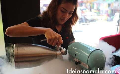 Nitrogênio virando sorvete