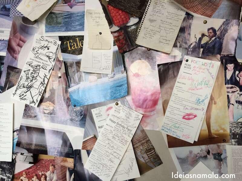 Mural com fotos, reportagens e bilhetes