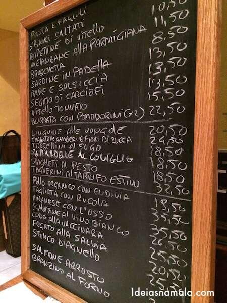 Menú de especiais do Bar Pitti