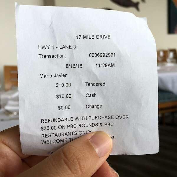almoço caprichado na 17 Mile Drive