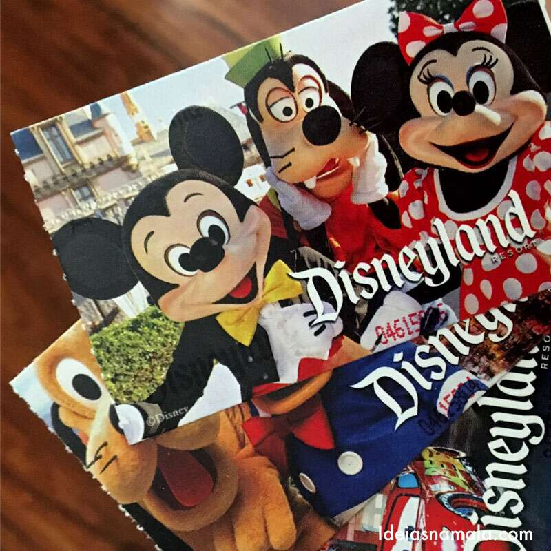 Ingressos impressos da Disney California
