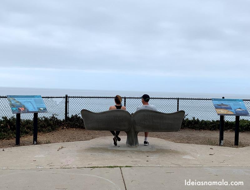 Banco em formato de baleia no Shoreline Park