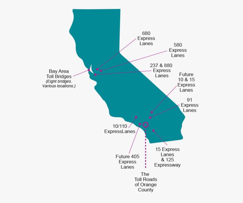 aluguel de carro na California - mapa dos pedágios