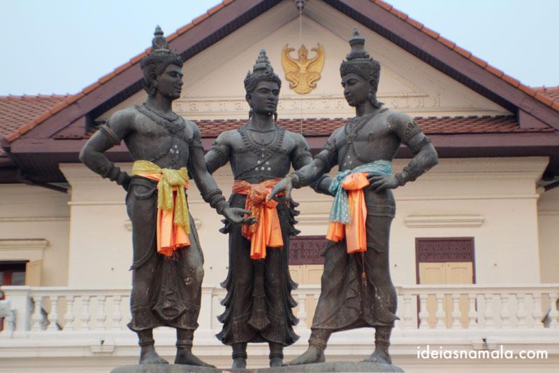 Monumento dos três reis em Chiang Mai