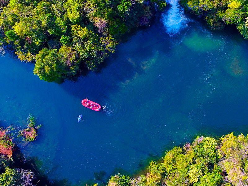 Vista aérea da antiga Ilha do Padre