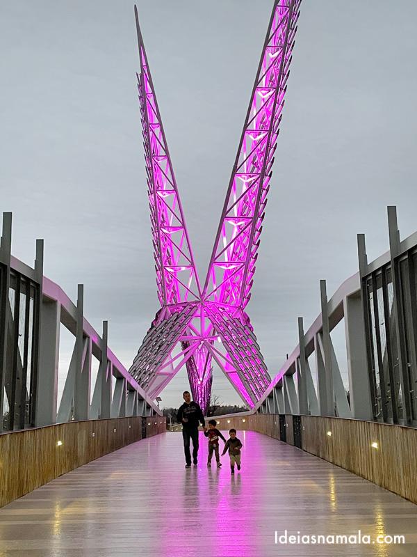 Skydance Bridge com sua iluminação noturna caprichada
